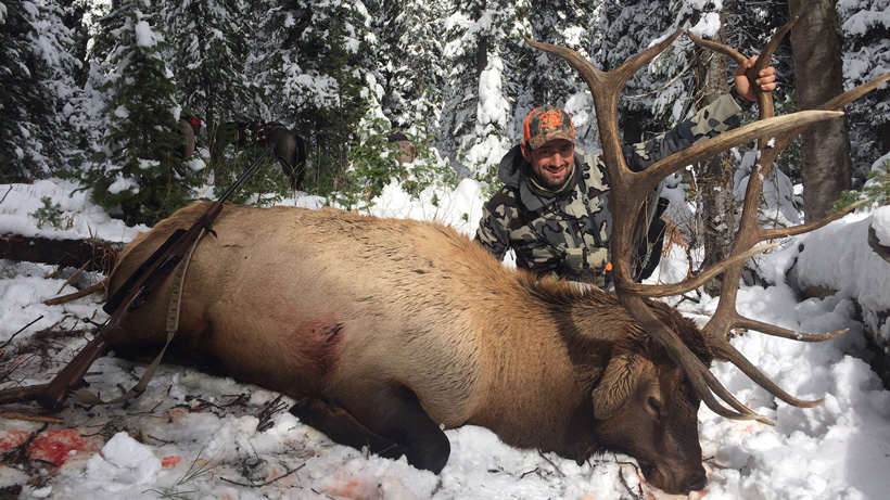 Steve Greanias with his Wyoming bull elk side view