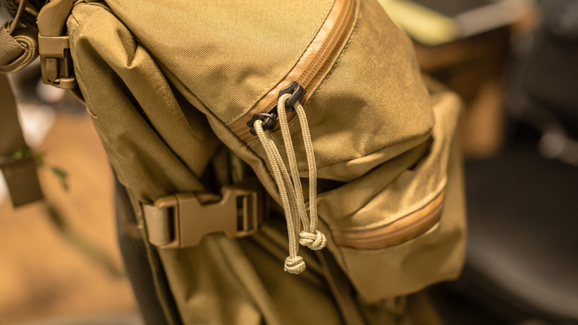 Stock p-cord pulls on Mystery Ranch Marshall backpack