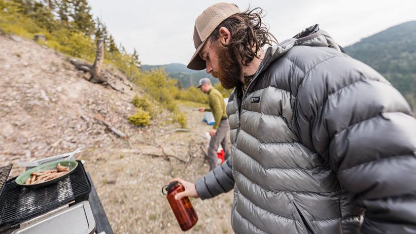 Stone Glacier Grumman Goose Down Jacket on bear hunt