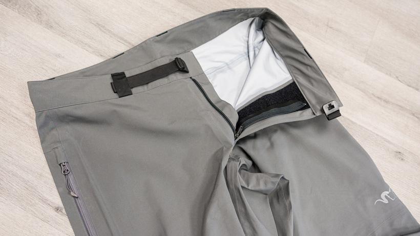 Stone Glacier M5 rain pant showing contour waist system