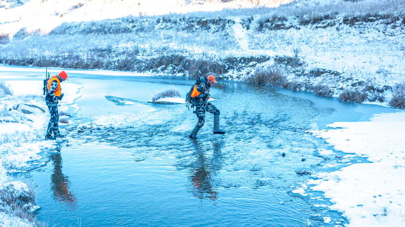 Stream crossing with gaiters