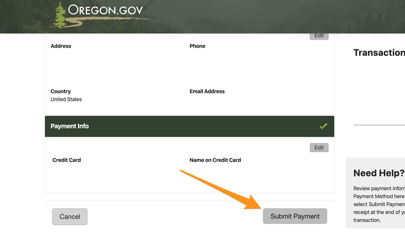 Submit payment for Oregon points