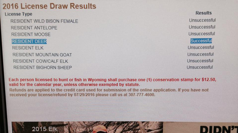 Successful Wyoming deer draw results