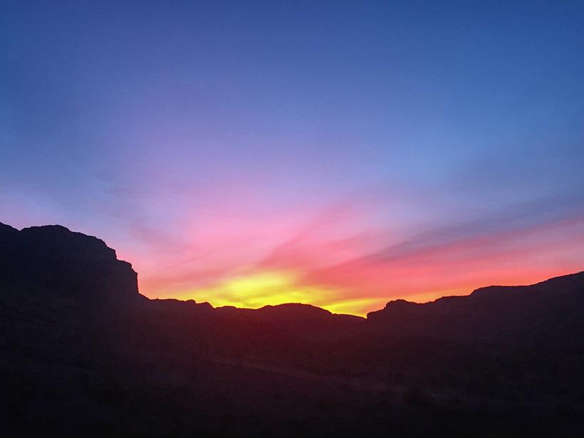 Sunrise in desert sheep country
