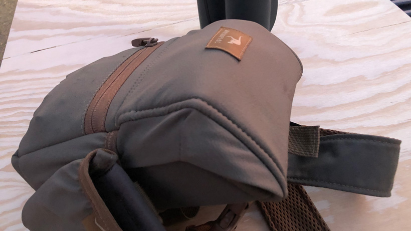 Swarovski EL Range TA with forehead rest in Marsupial bino pack closed