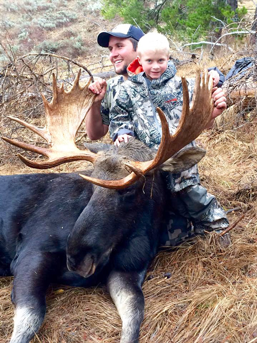 Taylor and Kayden with his Wyoming bull moose
