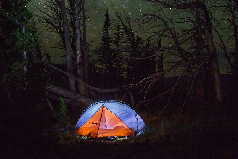 Tent at night under the stars