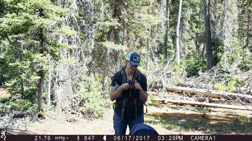 Testing the trail camera view before leaving