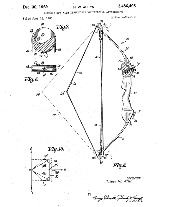 The first Allen Compound bow patent design