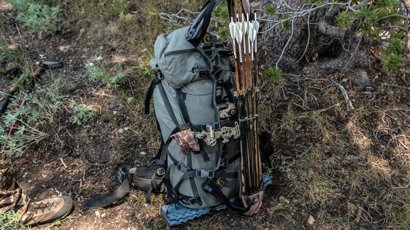 Tightspot quiver holding extra arrows on backpack