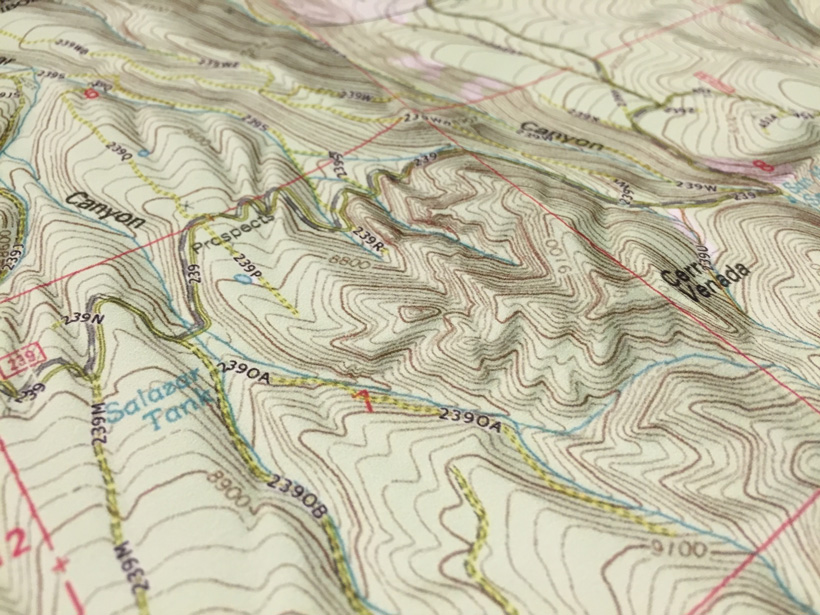 Topographic map showing contour lines