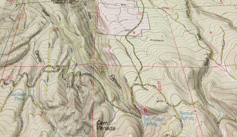 Topographic map for hunting