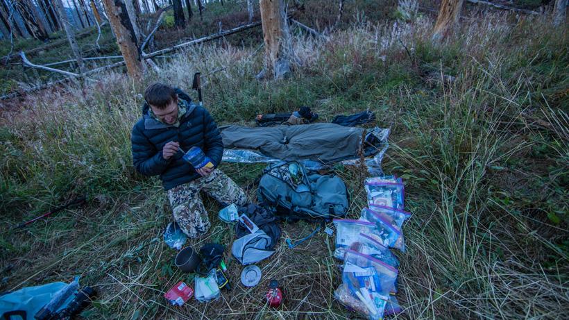 Trail Kreitzer with bivy sack setup on elk hunt