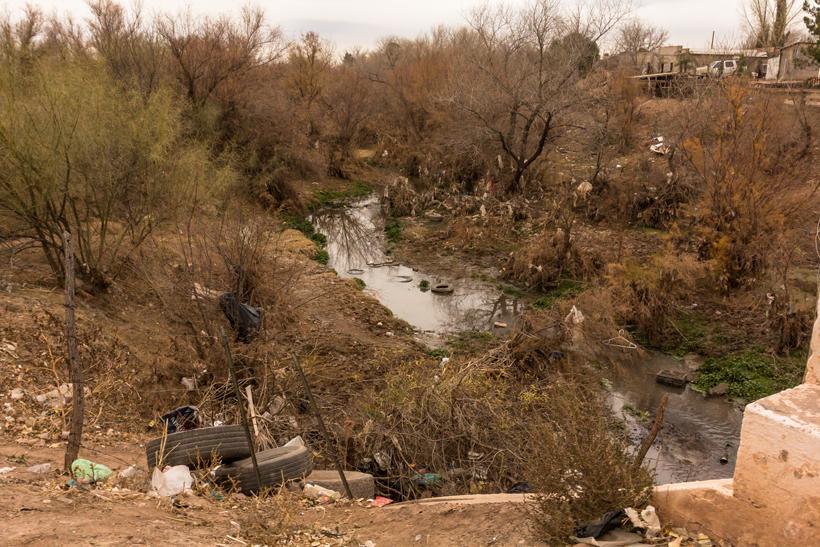 Trash in Mexico stream
