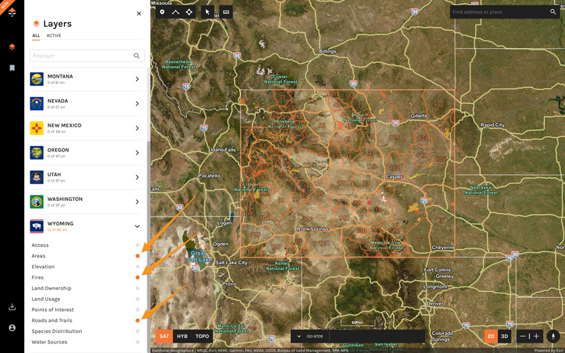 Turning on layers to start scouting with goHUNT Maps