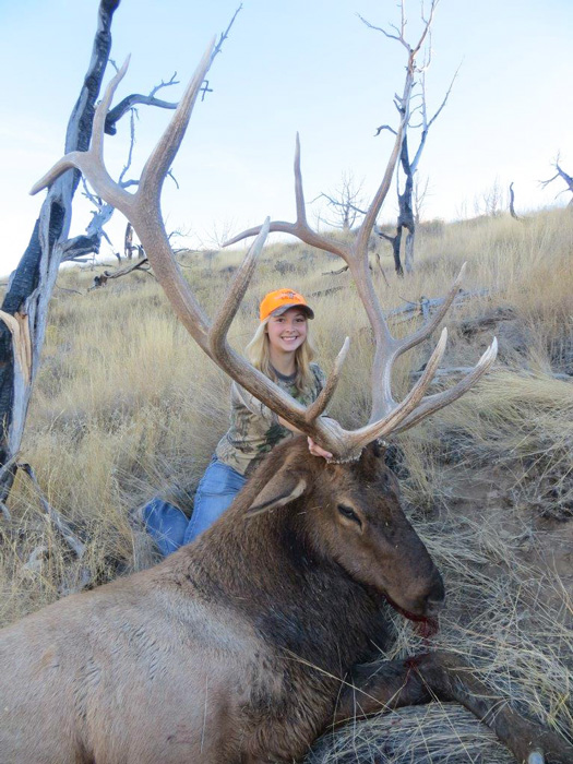 Tyler Cantrell with her Wyoming bull elk front view
