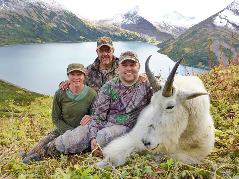Tyler Lisonbee with his British Columbia mountain goat