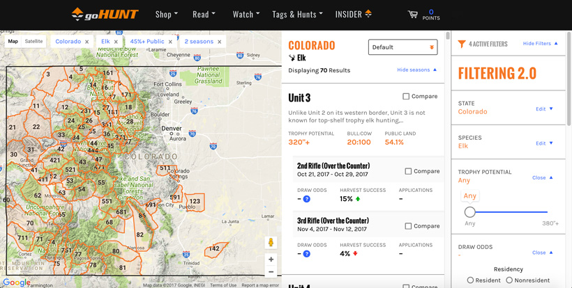 Using goHUNT INSIDER to research elk hunting opportunities