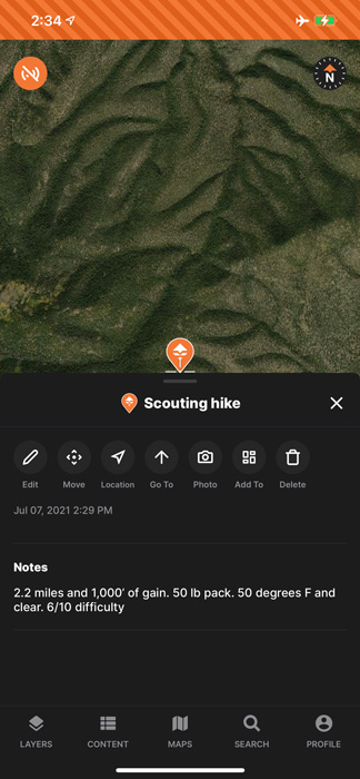 Using notes while scouting on goHUNT Maps mobile app