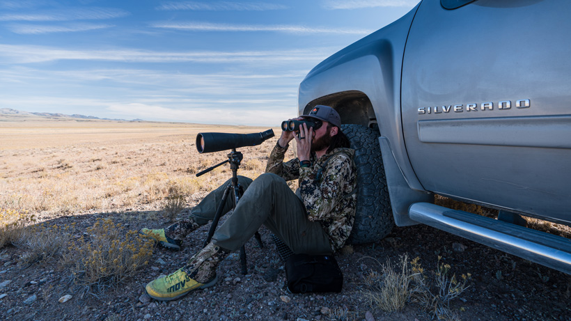 Using shade from truck for antelope hunting
