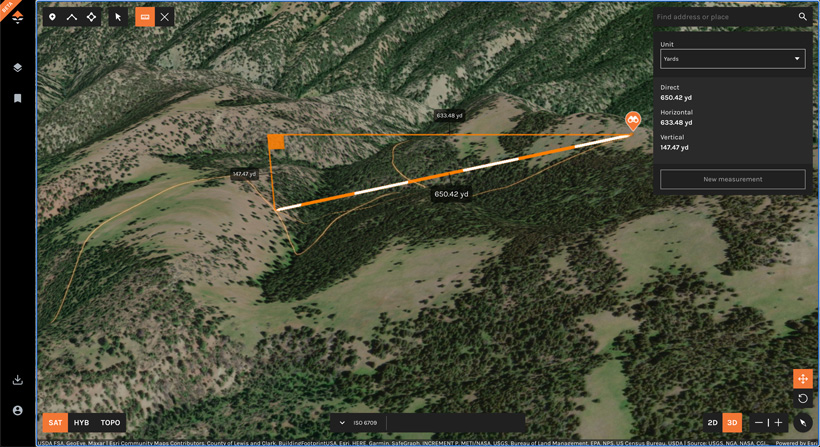 Using the line measurement tool for hunting