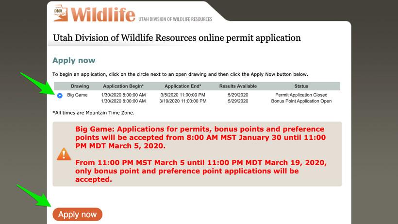 Utah bonus point purchase page