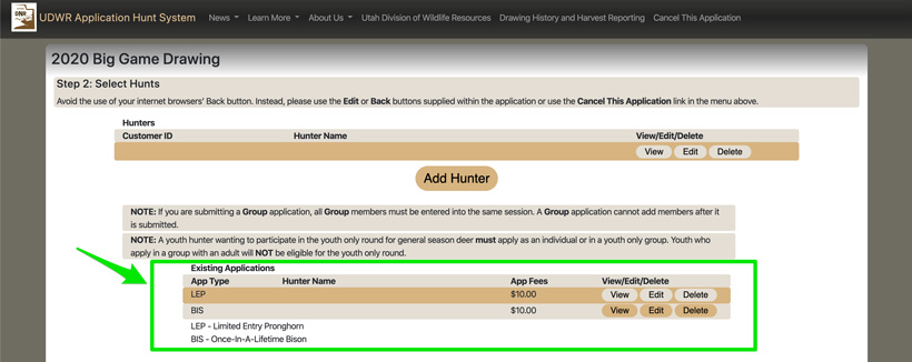 Utah existing bonus point applications