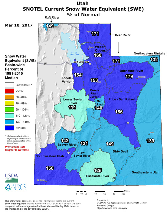 Utah snow water equivalent March 2017