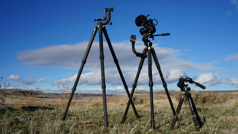 Various tripods for filming hunts