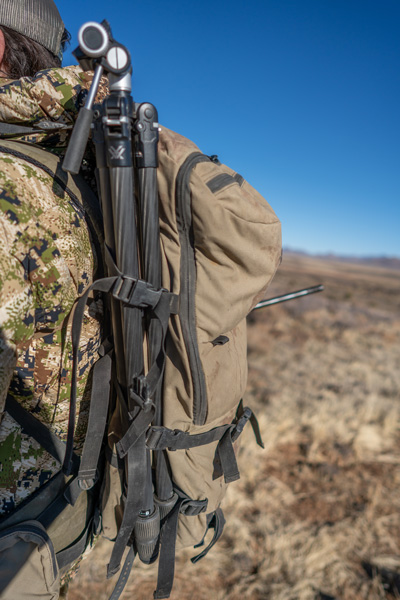 Vortex Ridgeview Carbon tripod on backpack