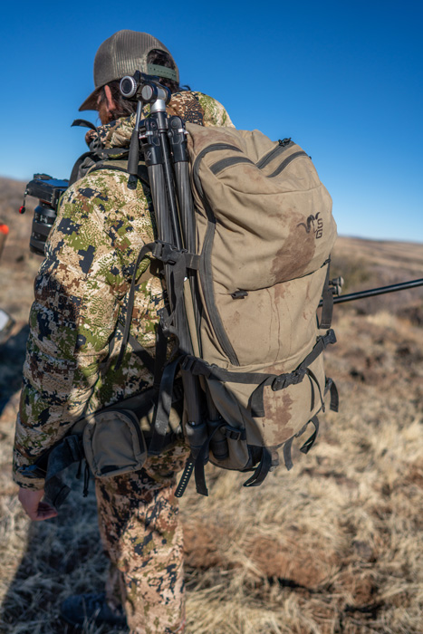 Vortex Ridgeview tripod on backpack