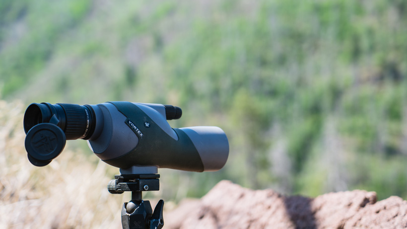 Vortex spotting scope for glassing