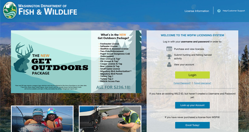 Washington Department of Fish and Wildlife licensing page