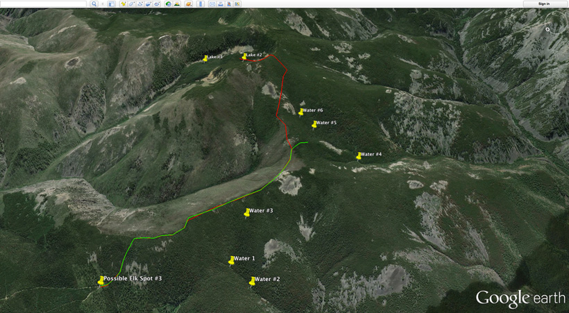 Water locations for elk scouting on Google Earth