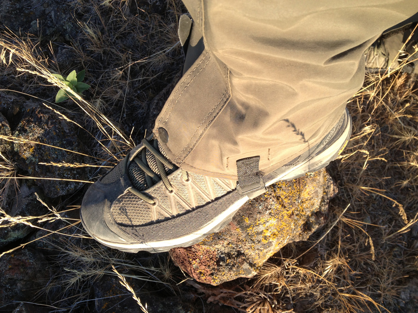 Wearing quality gaiters for debris while hunting