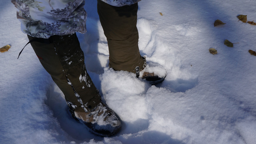 Wearing gaiters in the winter