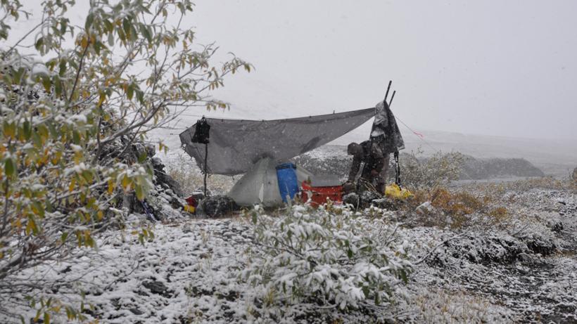 Winter backcountry sheep hunt camp