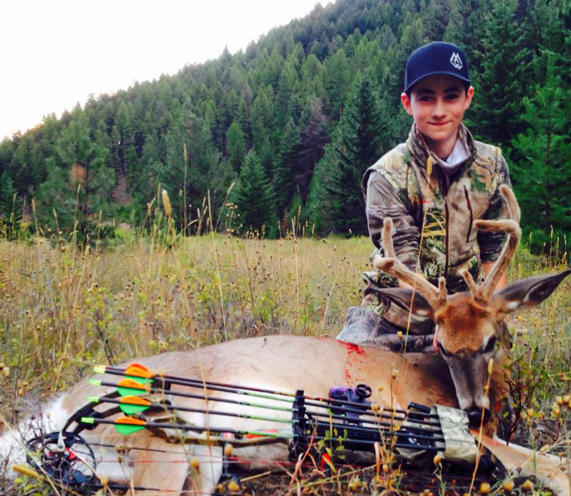 Wyatt O'Day with his first velvet archery buck