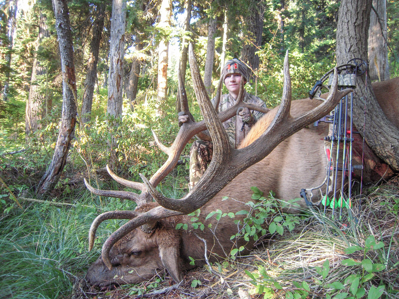 Wyatt O'Day with his giant archery elk side view
