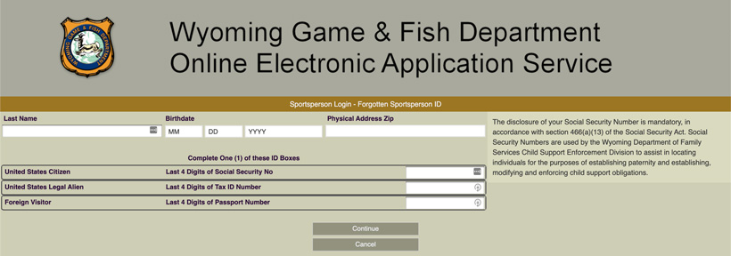 Wyoming game and fish forgot sportsperson ID login page