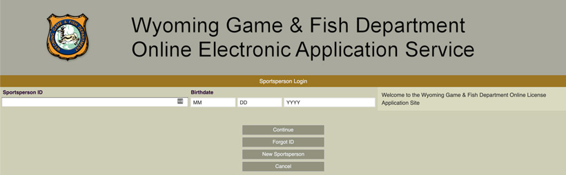 Wyoming game and fish sportsperson ID page