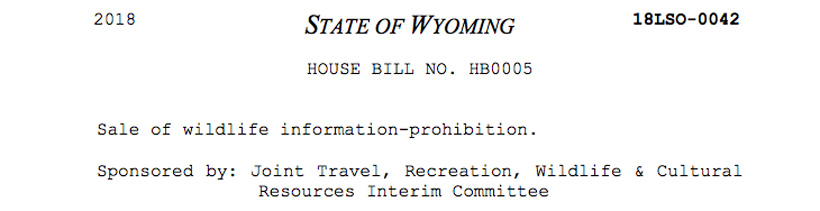 Wyoming prohibiting sale of wildlife locations
