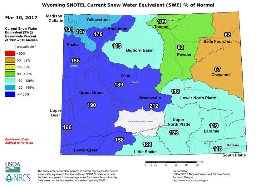 Wyoming snow water equivalent March 2017