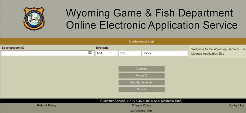 Wyoming sportsperson login page