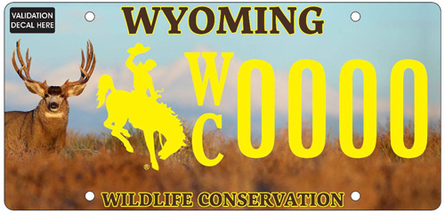Wyoming wildlife conservation license plate