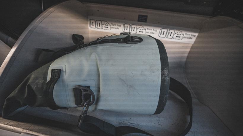 YETI Hopper M30 in airline overhead bin