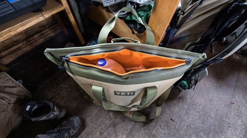 YETI soft cooler at backcountry cabin