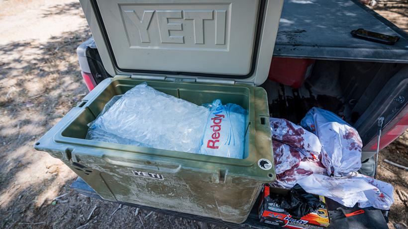 Yeti cooler full of ice