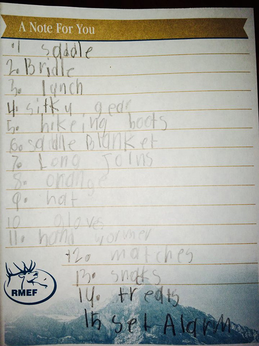 Youth equipment list before a hunt