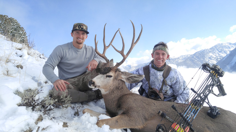 Zach Davis and Martin with a Utah extended archery mule deer